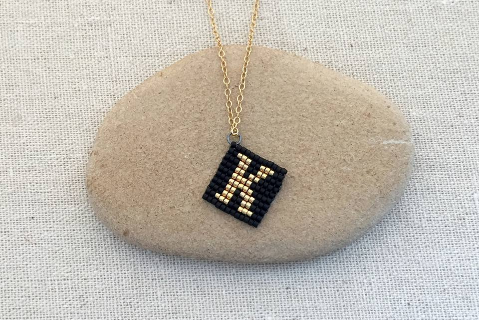Square Stitch Beaded Initial Letter K