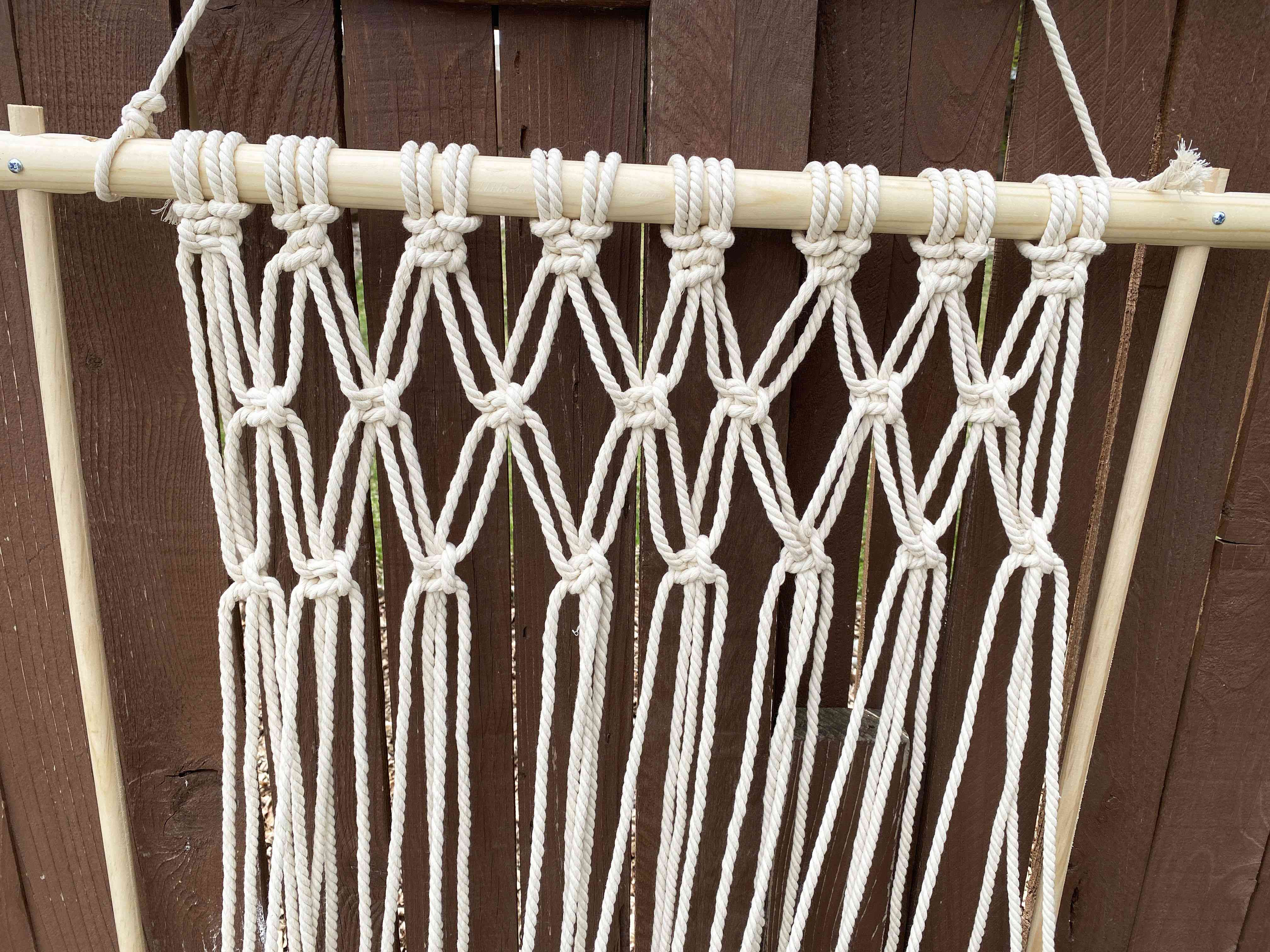 A group of square macrame knots