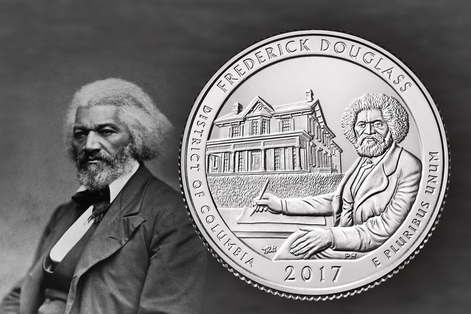 A portrait of Frederick Douglass and an image of the Frederick Douglass America the beautiful quarter