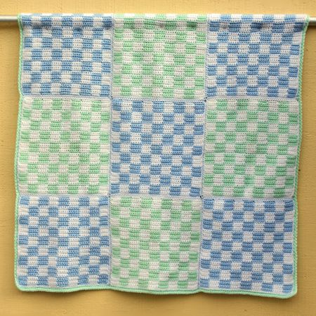 Boy Friendly Gingham Check Baby Afghan Crochet Pattern