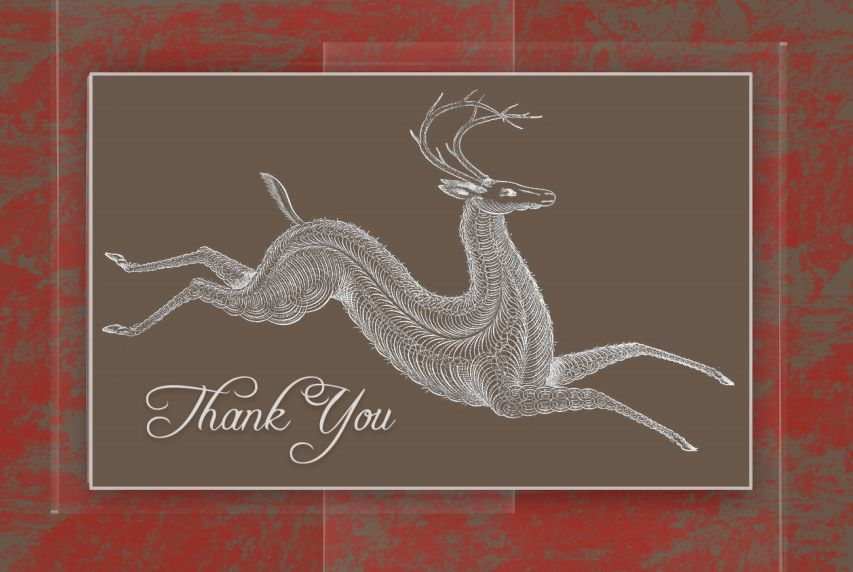 A Christmas thank you card with a chalk-style reindeer on the front.