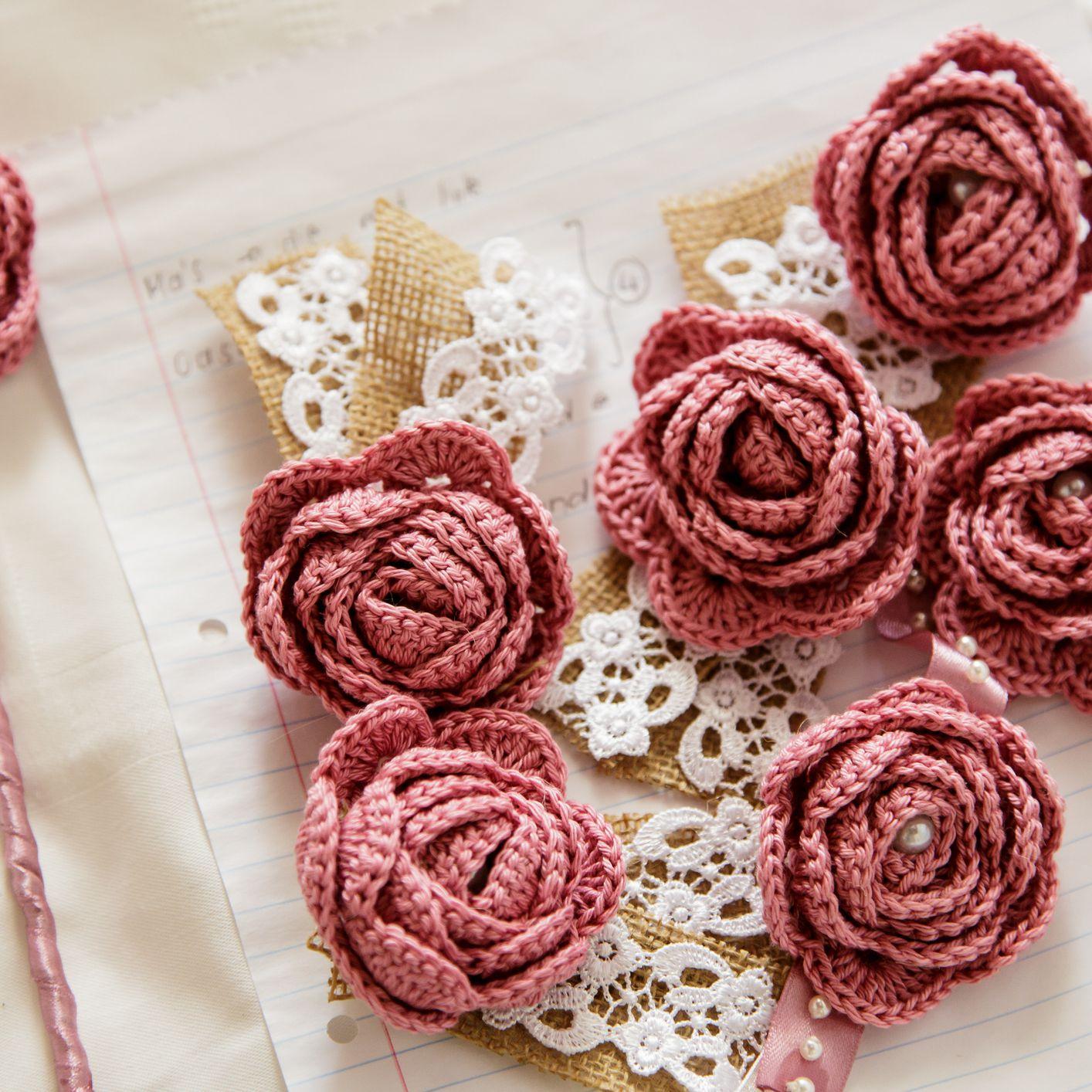Small Crochet Rose