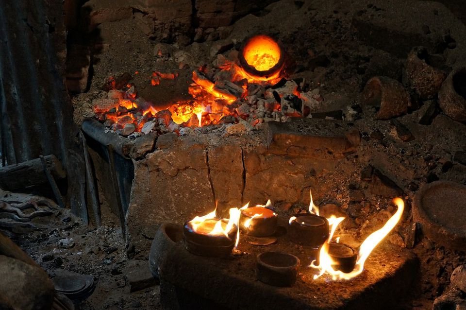 Fire in a pottery kiln