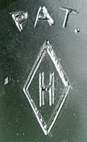 Heisey Glass Co. H in diamond mark