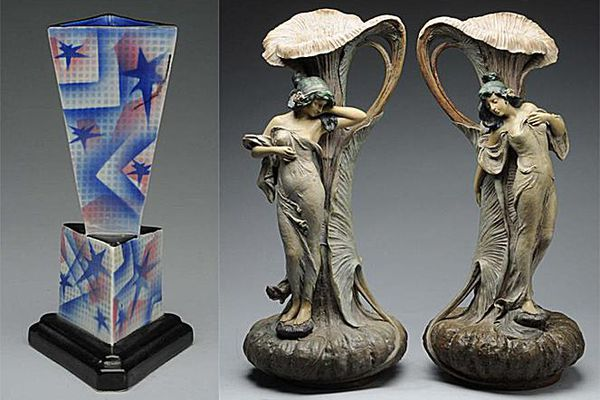 Art Deco vase from Czechoslovakia (Ditmar Urbach airbrushed design) shown at left; Pair of Art Nouveau opposing vases (Ernst Wahlis) shown at right