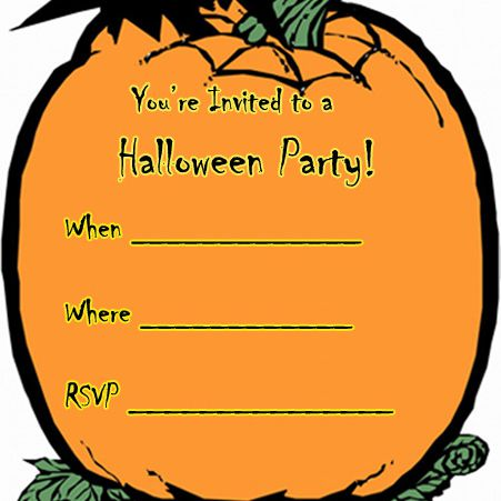 A Halloween Invitation With Pumpkin And Bat Print Free Cards