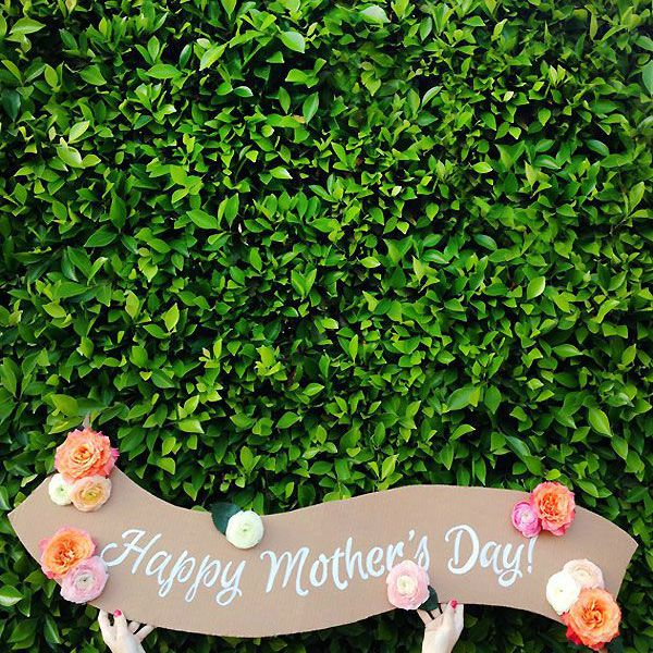 Happy Mother's Day sign against an ivy wall.