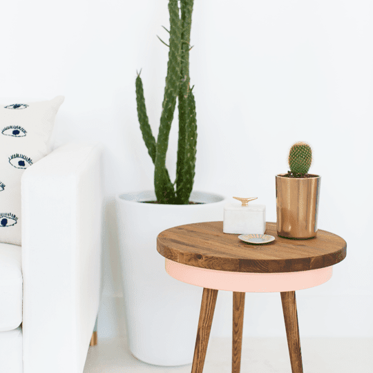 DIY Pastel Mid-Century Side Table
