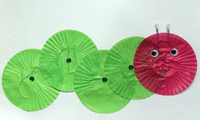 cupcake liner caterpillar craft