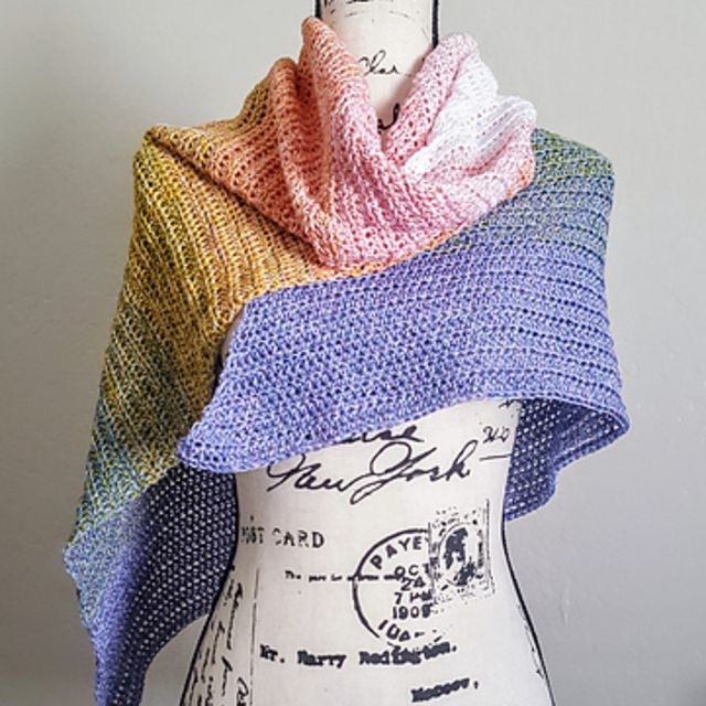 Colorful Cotton Crochet Scarf Free Pattern