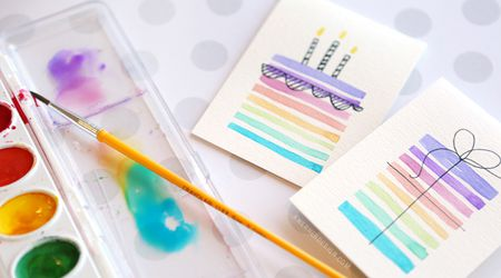 Easy Handmade Birthday Cards Using Minimal Supplies Watercolor Card