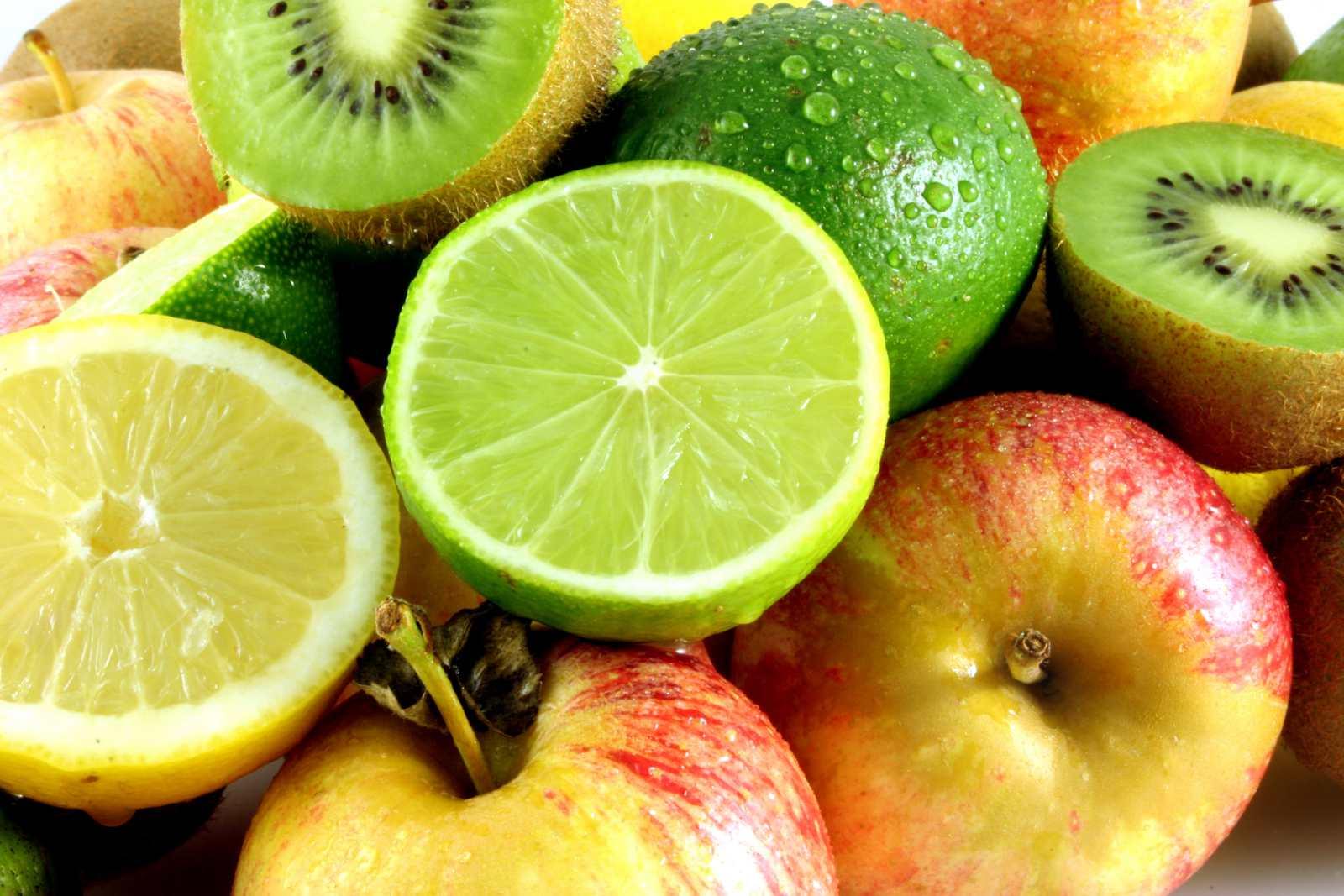 Limes, lemons, kiwis, and apples