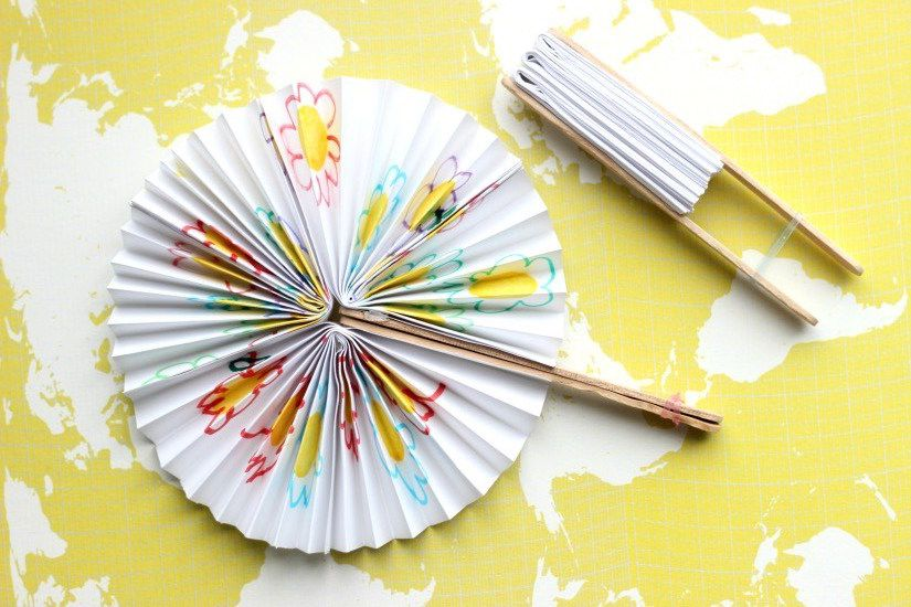 popsicle stick craft - paper fan