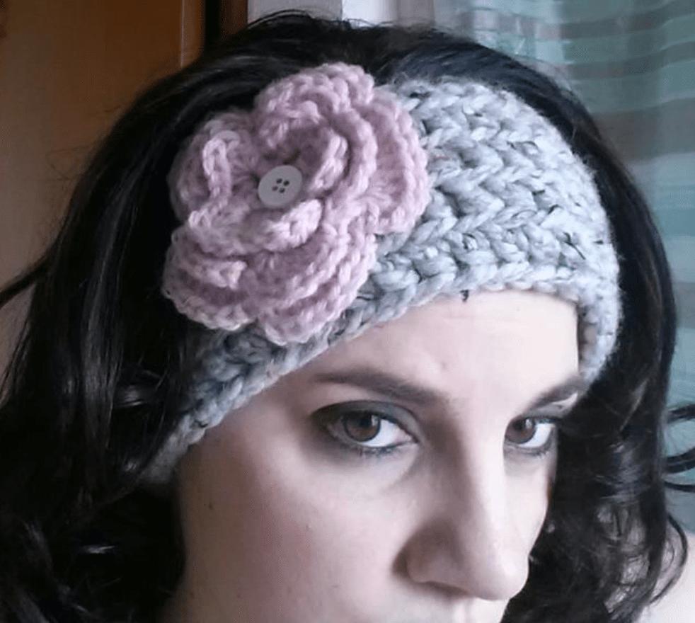 Chunky Crochet Ear Warmer with Flower