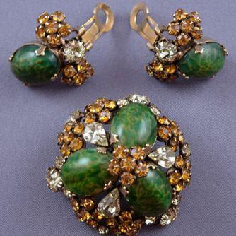 Schreiner Art Glass Cabochon Brooch and Earring Set Demi-Parure Value