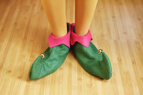 person wearing felt elf shoes