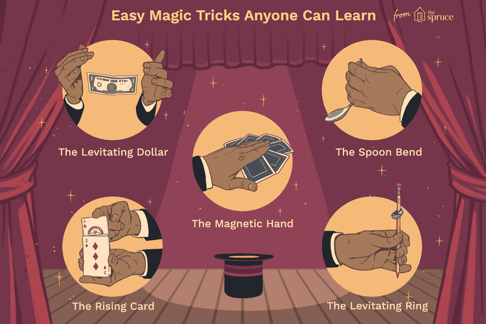 Illustration of different types of easy magic tricks