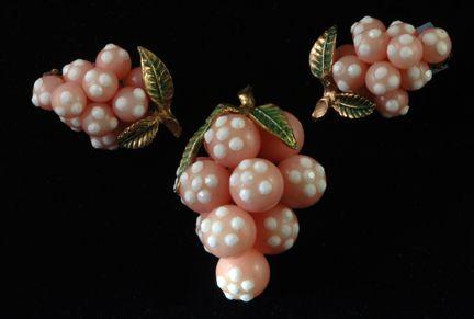 Circa: 1950s Forbidden Fruits Grapes Pin and Earring Set