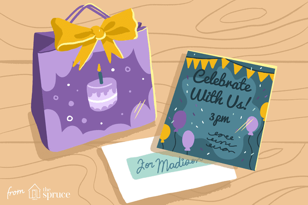 Illustration of birthday card and gift