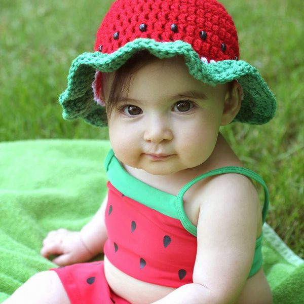 Crochet Watermelon Sun Hat on a Toddler