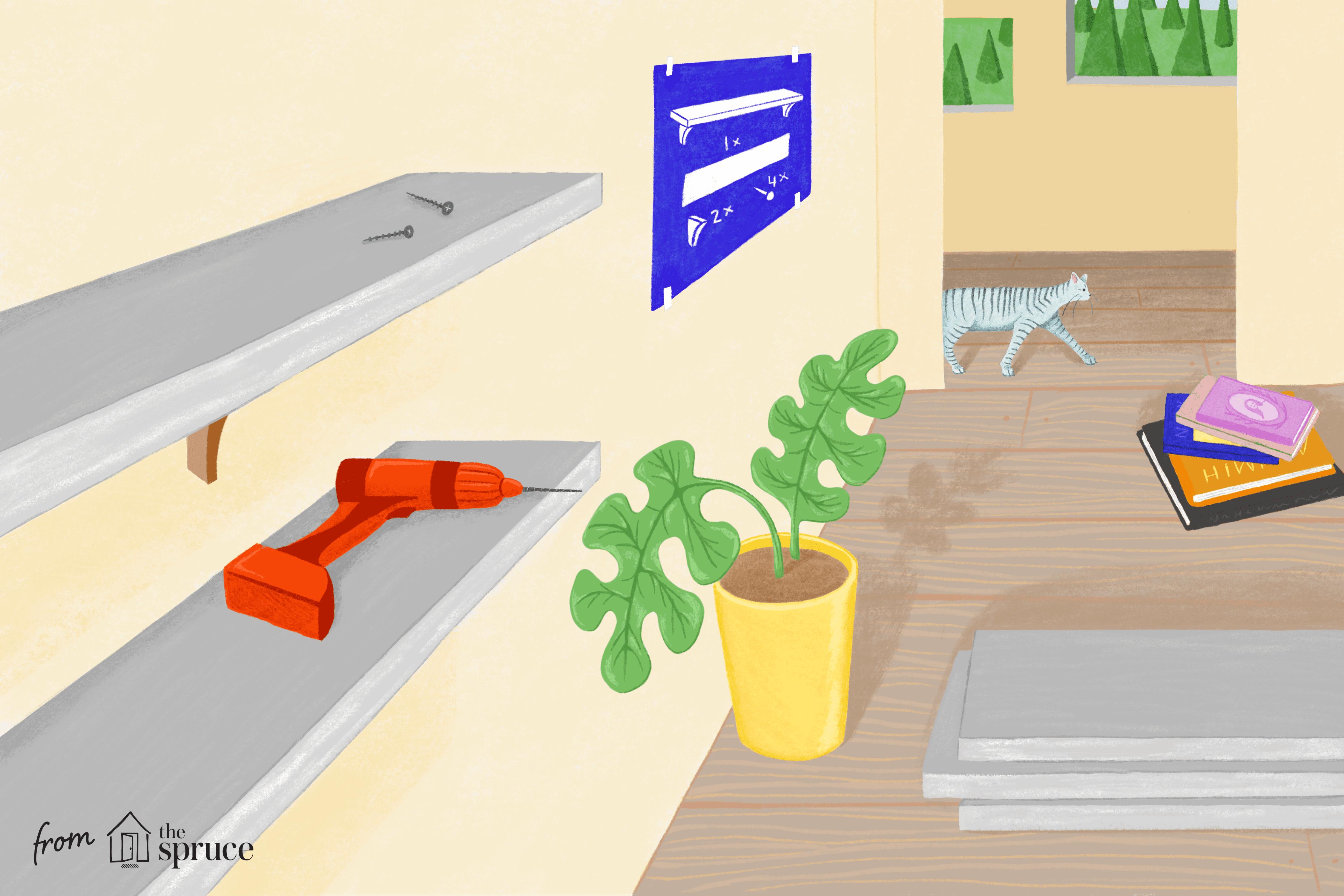 Illustration of shelves being built
