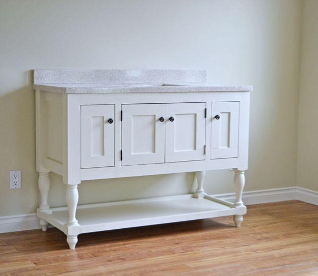 A white wood bathroom vanity