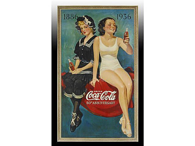 Ca. 1936 Coca-Cola 50th Anniversary Cardboard Poster