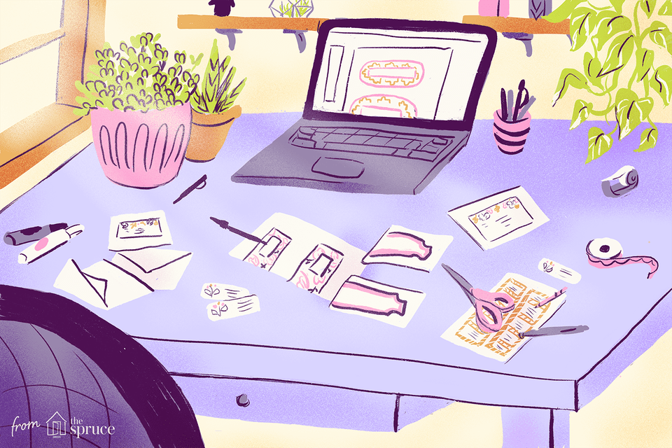 An illustration of address labels and envelopes sitting on a desk next to scissors, pens, plants, and a laptop
