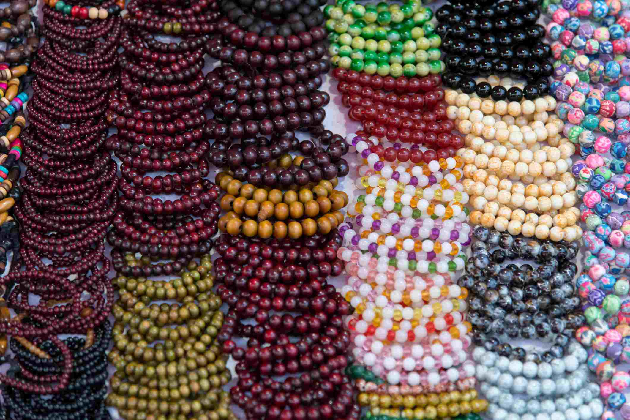 Multicolored bracelets at market