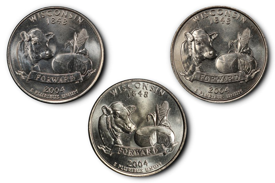 Three Different Types of 2004-D Wisconsin State Quarters.