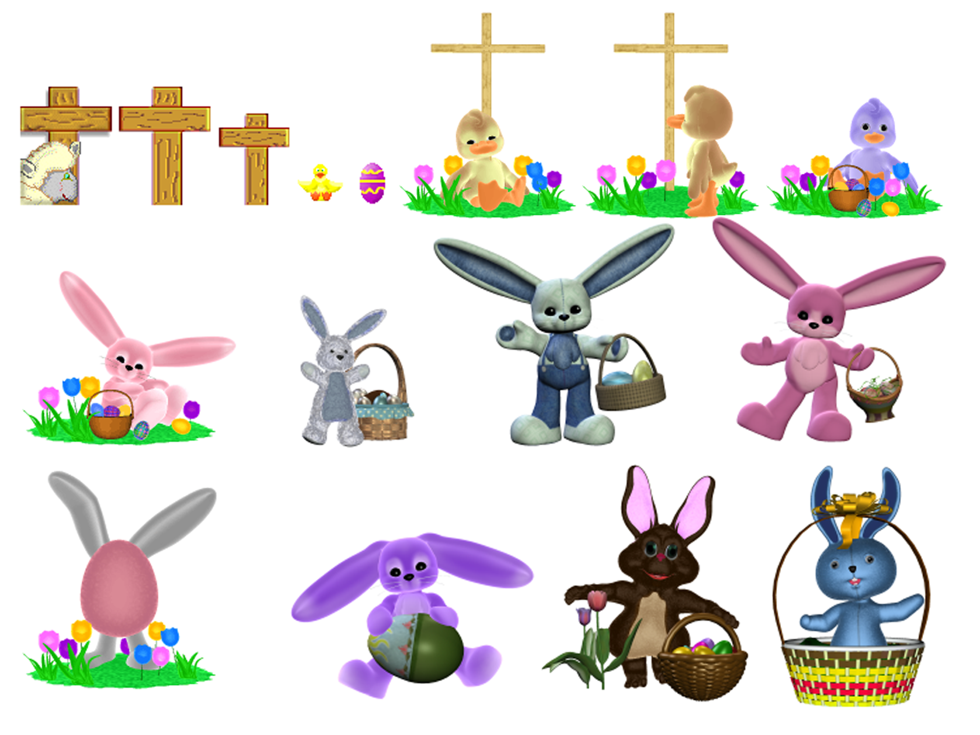 Easter bunnies, chicks, eggs, and crosses