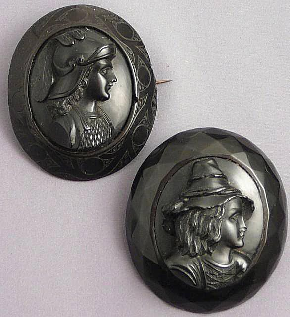 Carved Whitby jet cameos