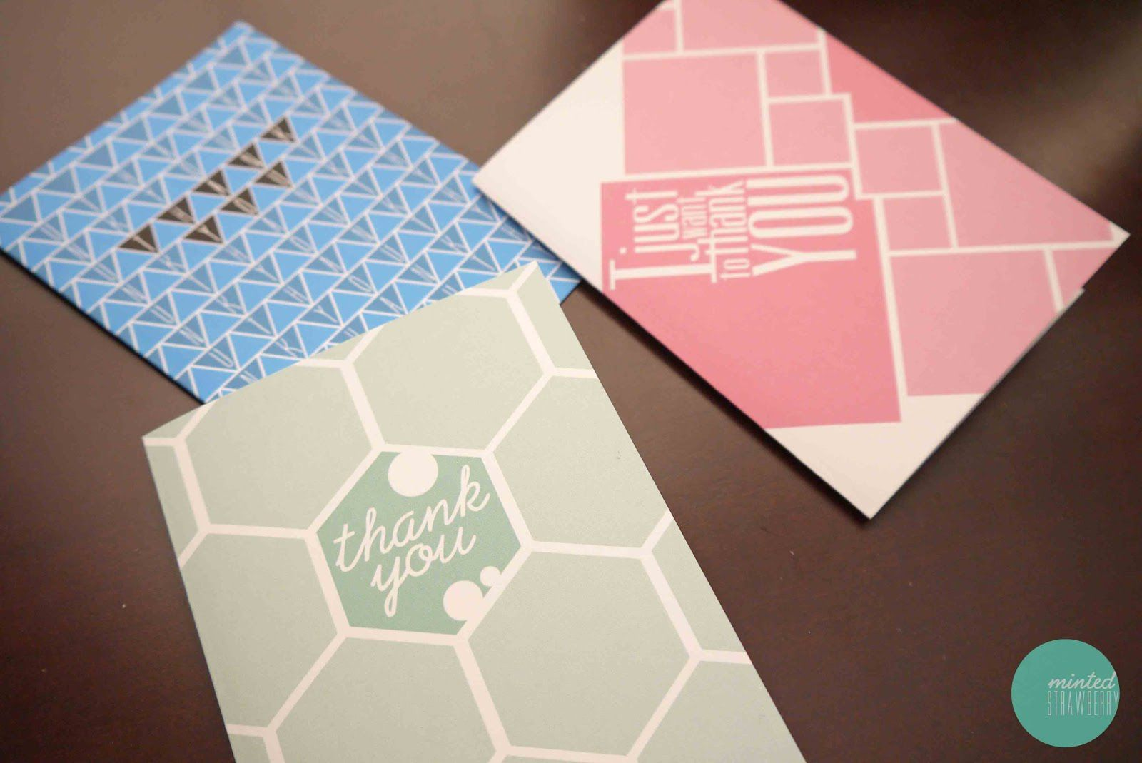 Blue, green, and pink thank you cards