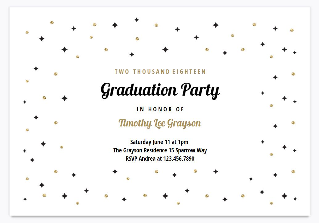 a black and gold graduation party invite template