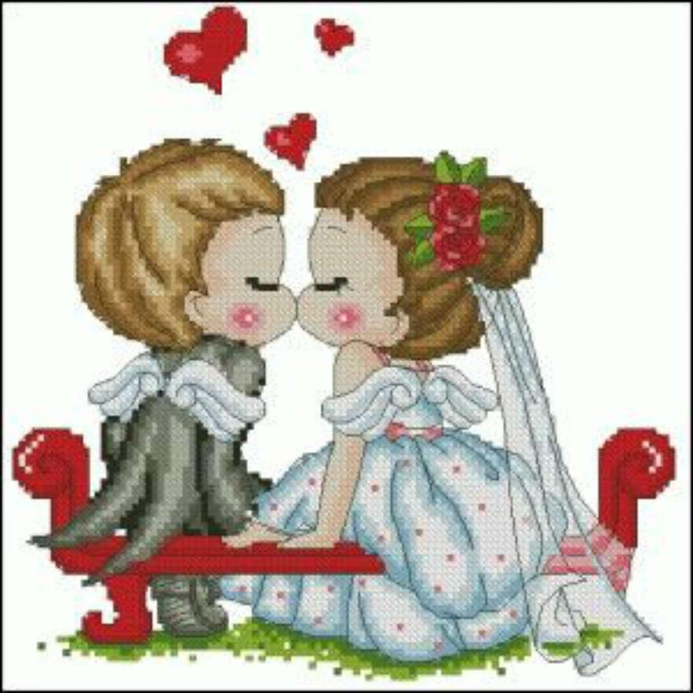 cute couple cross stitch