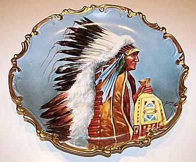 American Indian Chief Limoges Charger