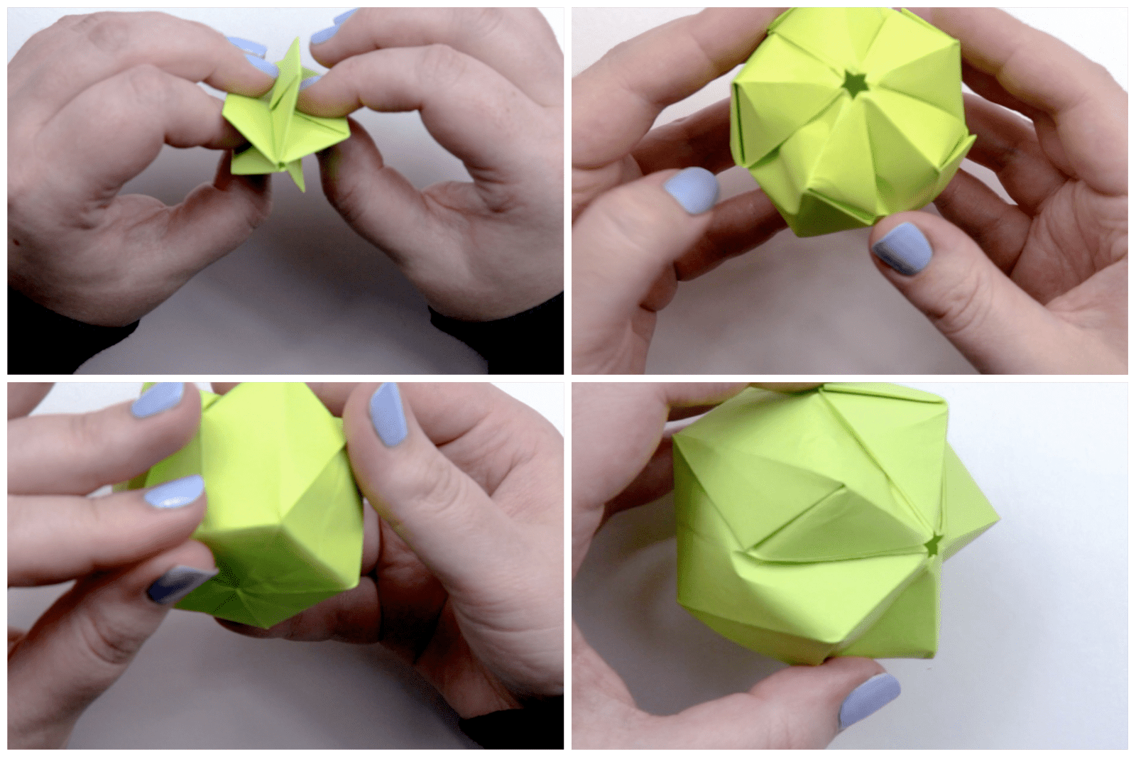Shaping the paper into an apple