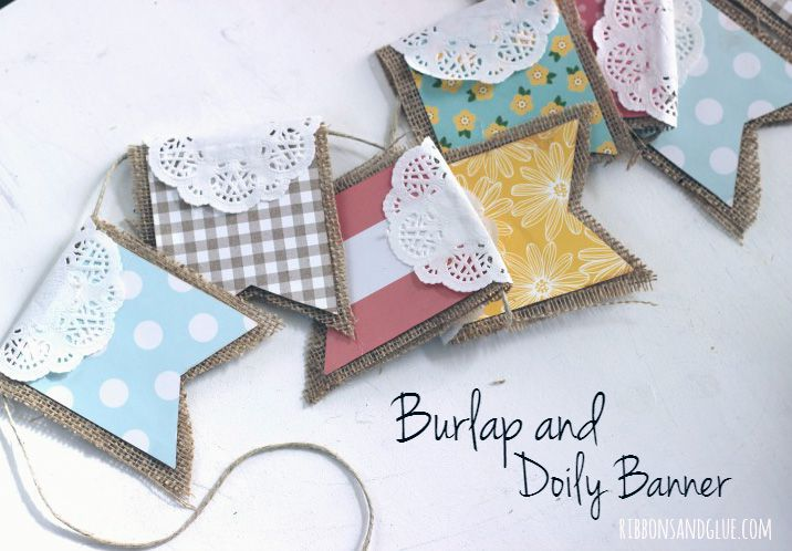 burlap and doily banner