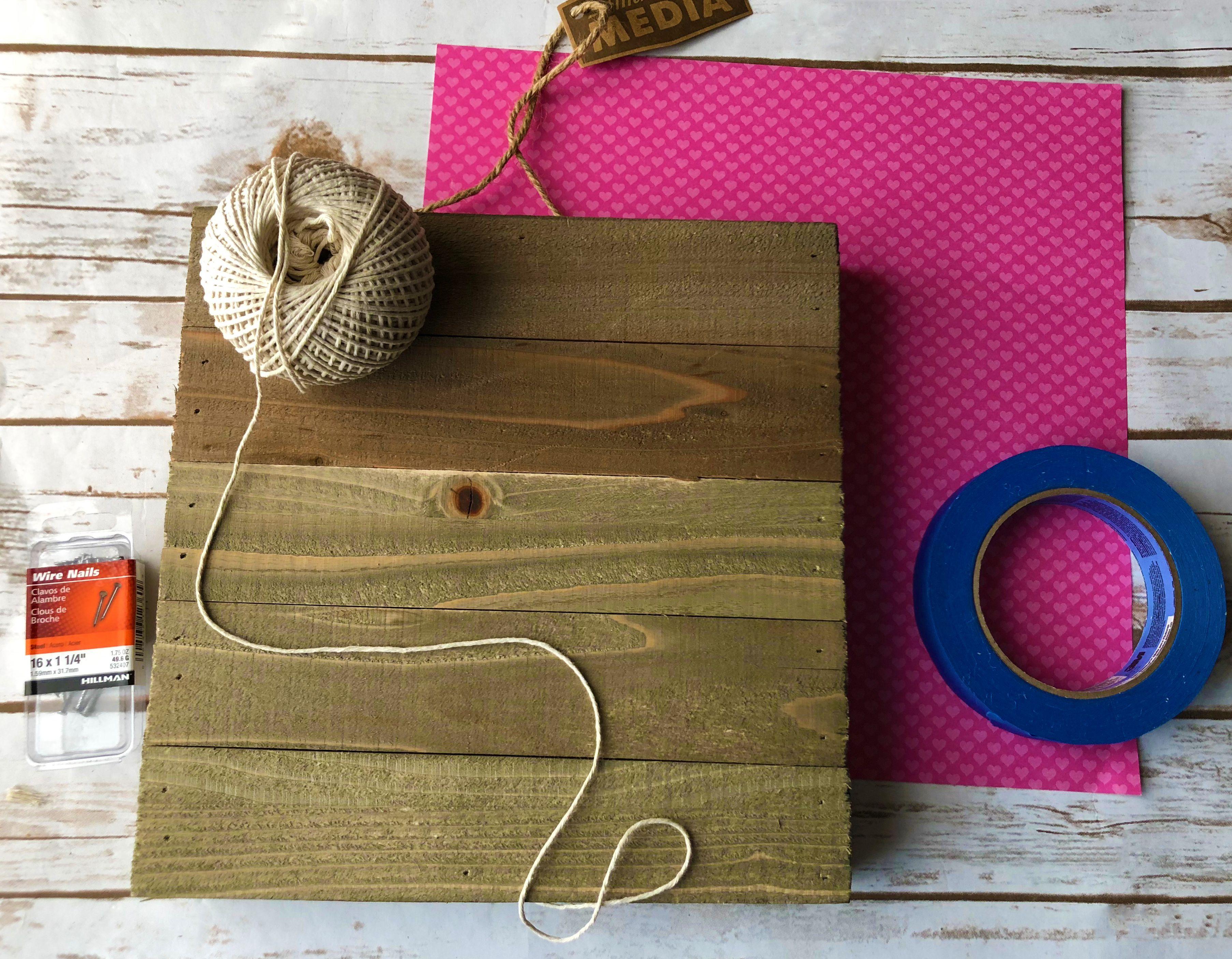 materials needed for string art heart
