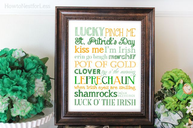 An orange and green St. Patrick's Day subway art print