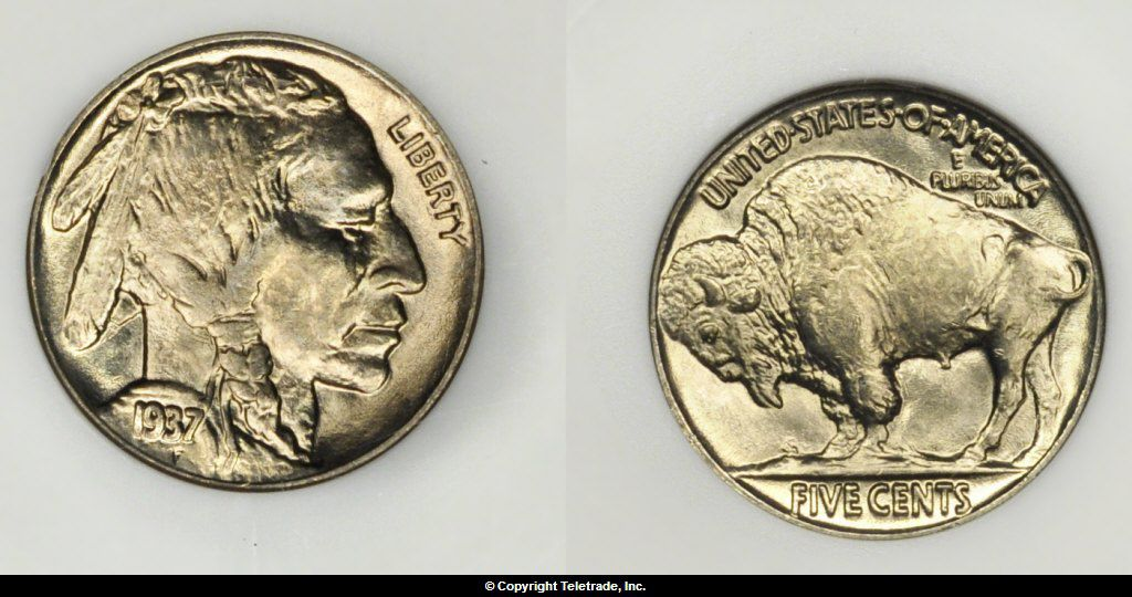 Buffalo Nickel graded Mint State 65 (MS65)