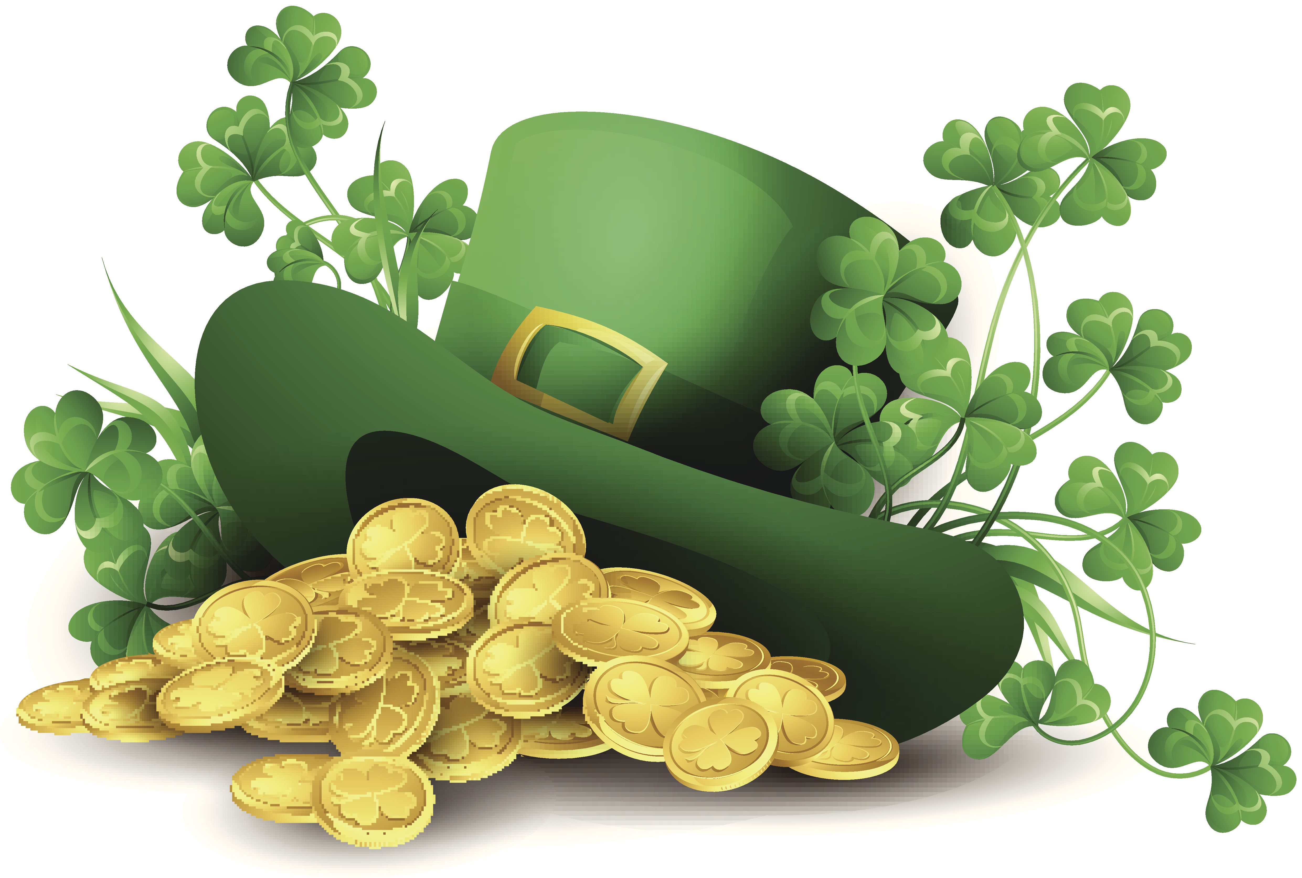 St. Patrick's Day hat with coins and shamrocks