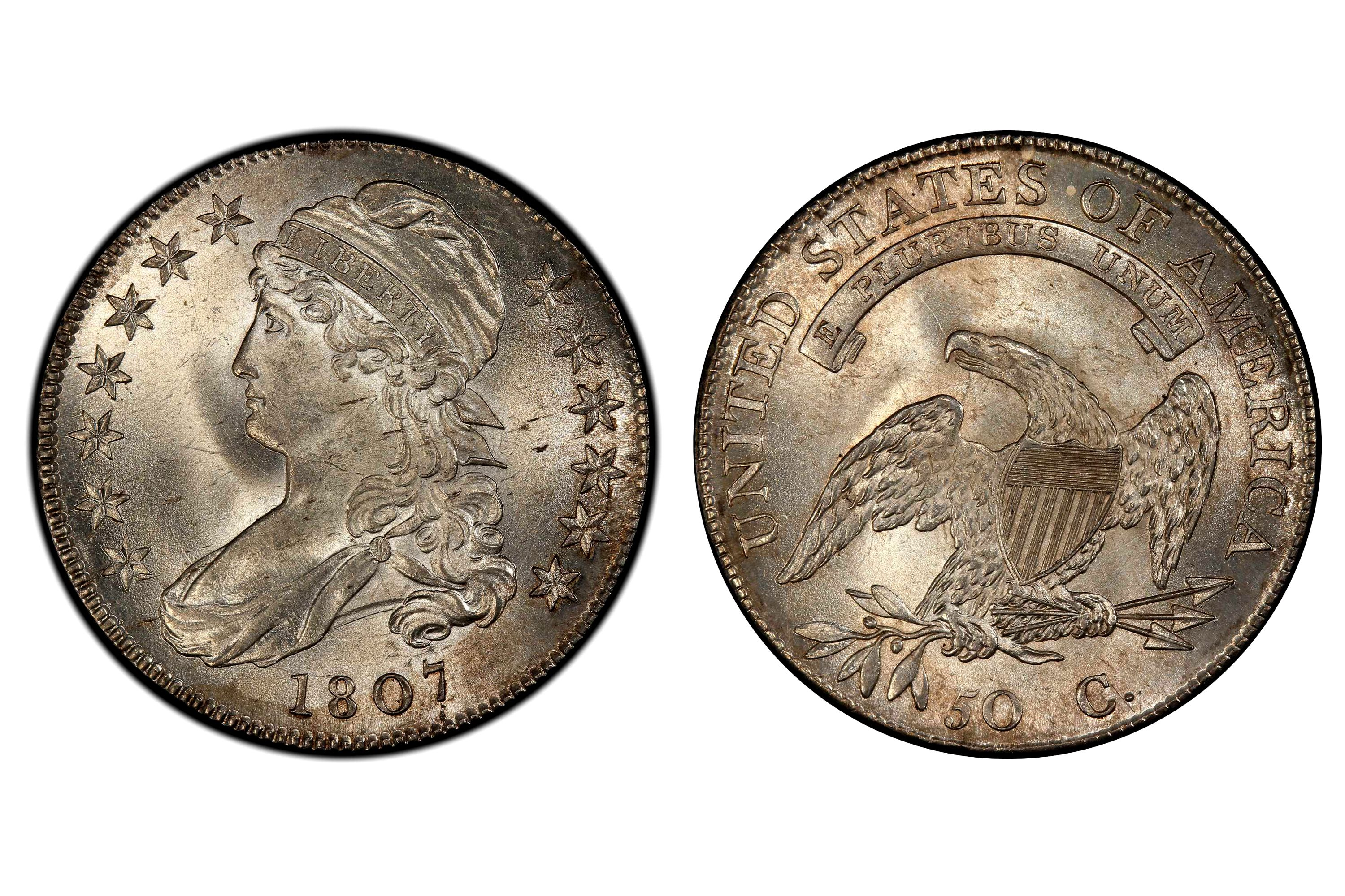 1807 Capped Bust Half Dollar with Large Stars graded MS-66 by PCGS