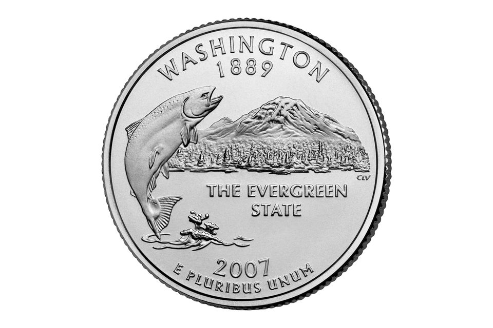 Washington State Quarter with a king salmon breaching water with Mount Rainier in the distance.