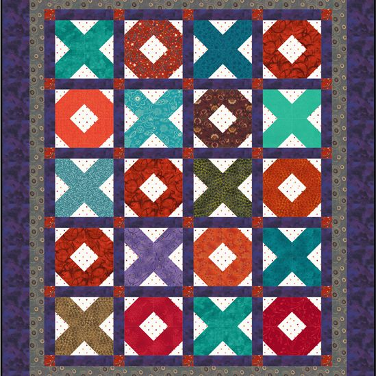 X's and O's Baby Quilt Pattern with Sashing