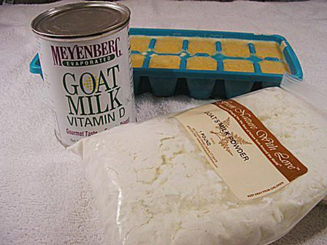 The materials for making soap with goat's milk