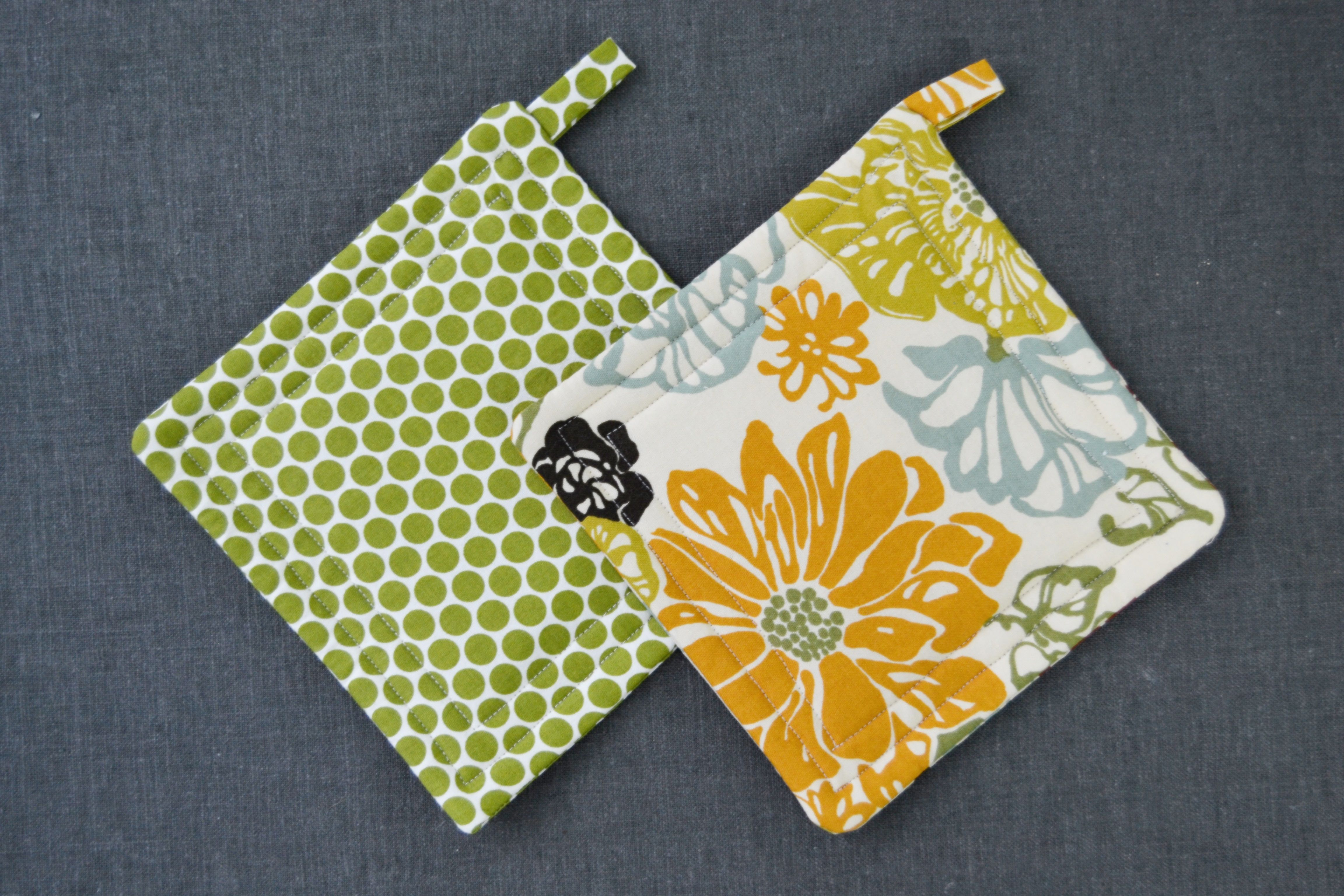 Two colorful pot holders