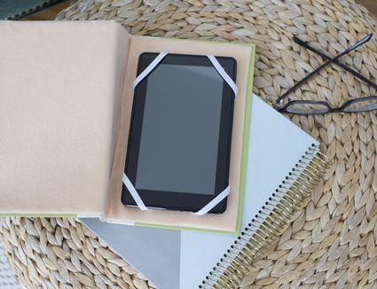 E-reader case made from a book.