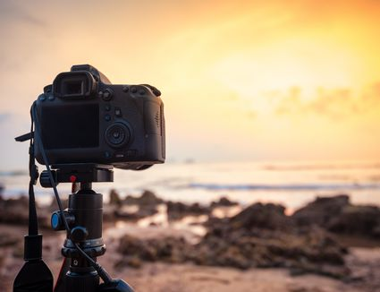 DSLR Camera capturing seascape view in morning
