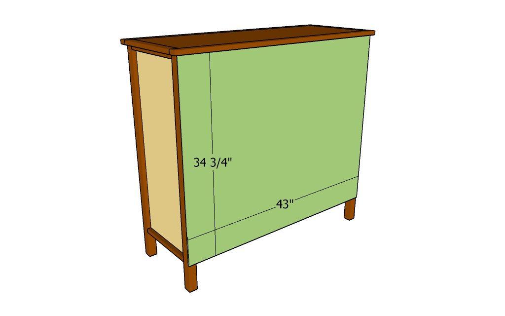 An illustration of a back of a dresser
